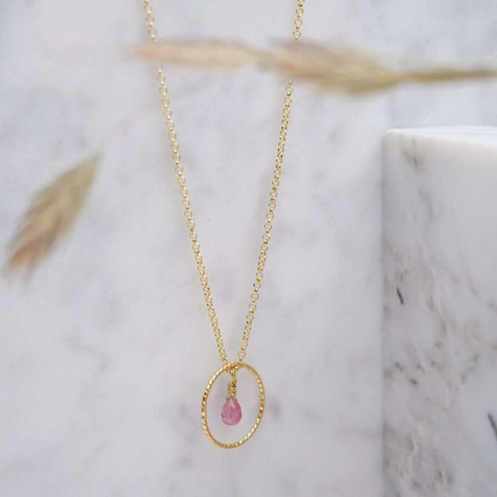Necklace Faustine tourmaline (gold plated)   Tiroir de Lou