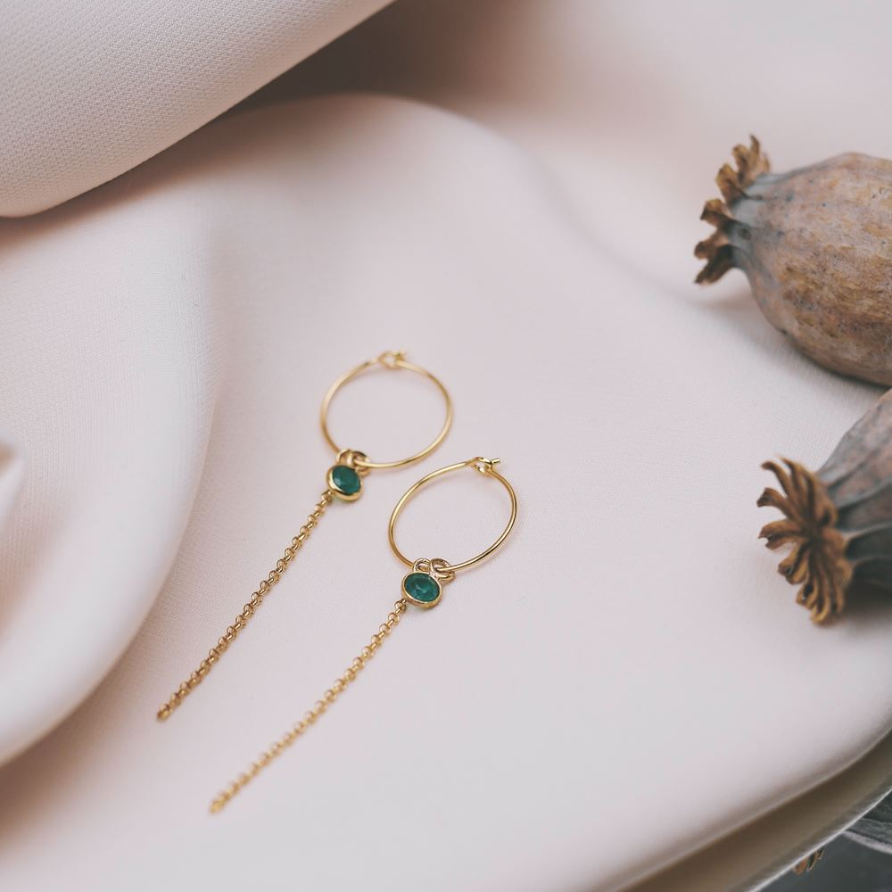 Earrings Emma gold plated (emerald)