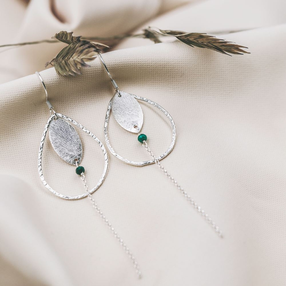 Earrings Louise silver (green agate)