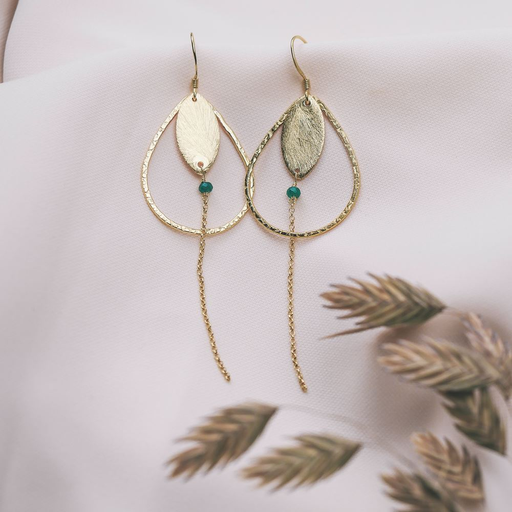 Earrings Louise gold plated silver (green agate)