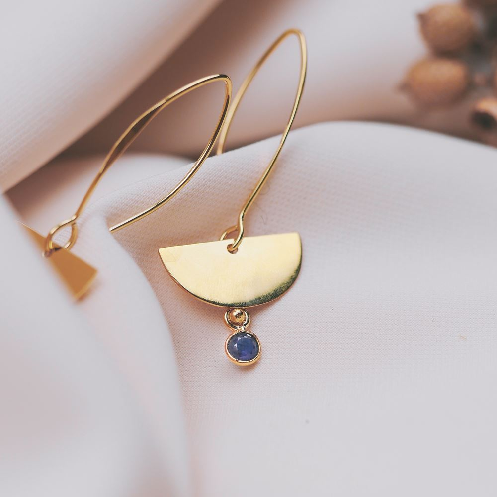 Earrings Léonie gold plated (sapphire)